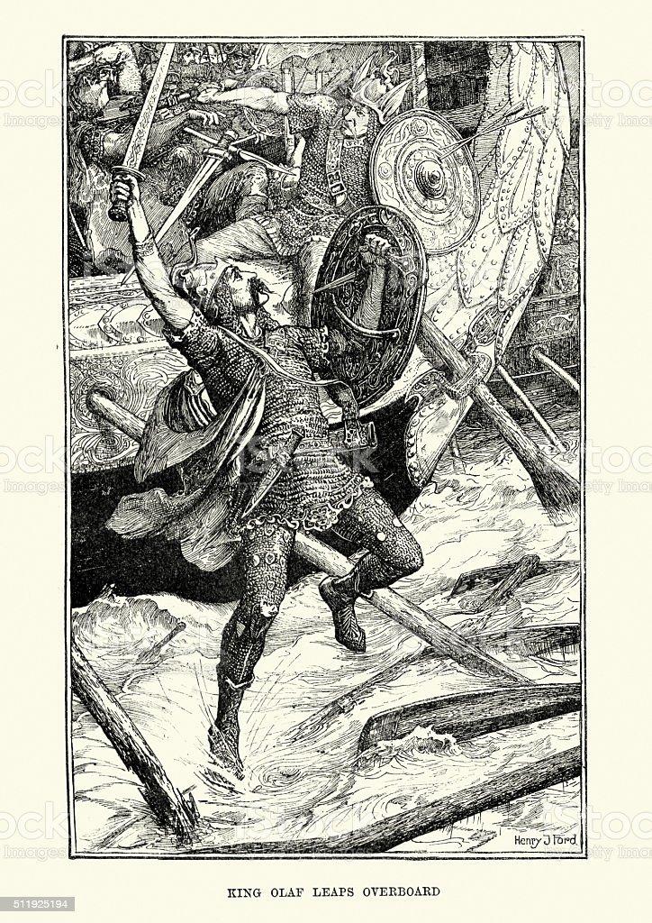 King Olaf Tryggvason at the Battle of Svolder vector art illustration