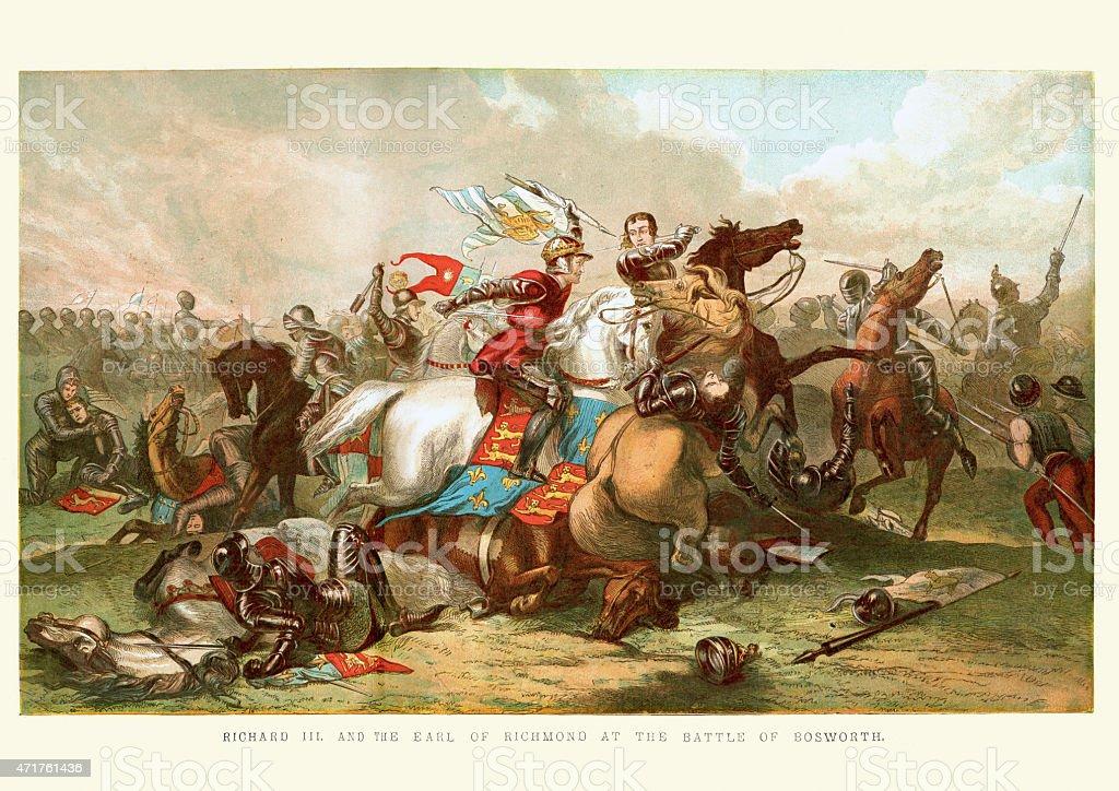 King Richard III at the Battle of Bosworth 1485 vector art illustration