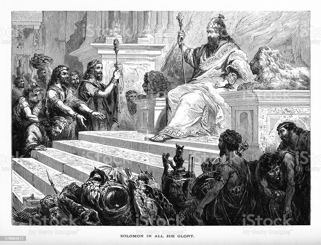 King Solomon in All His Glory Biblical Engraving vector art illustration
