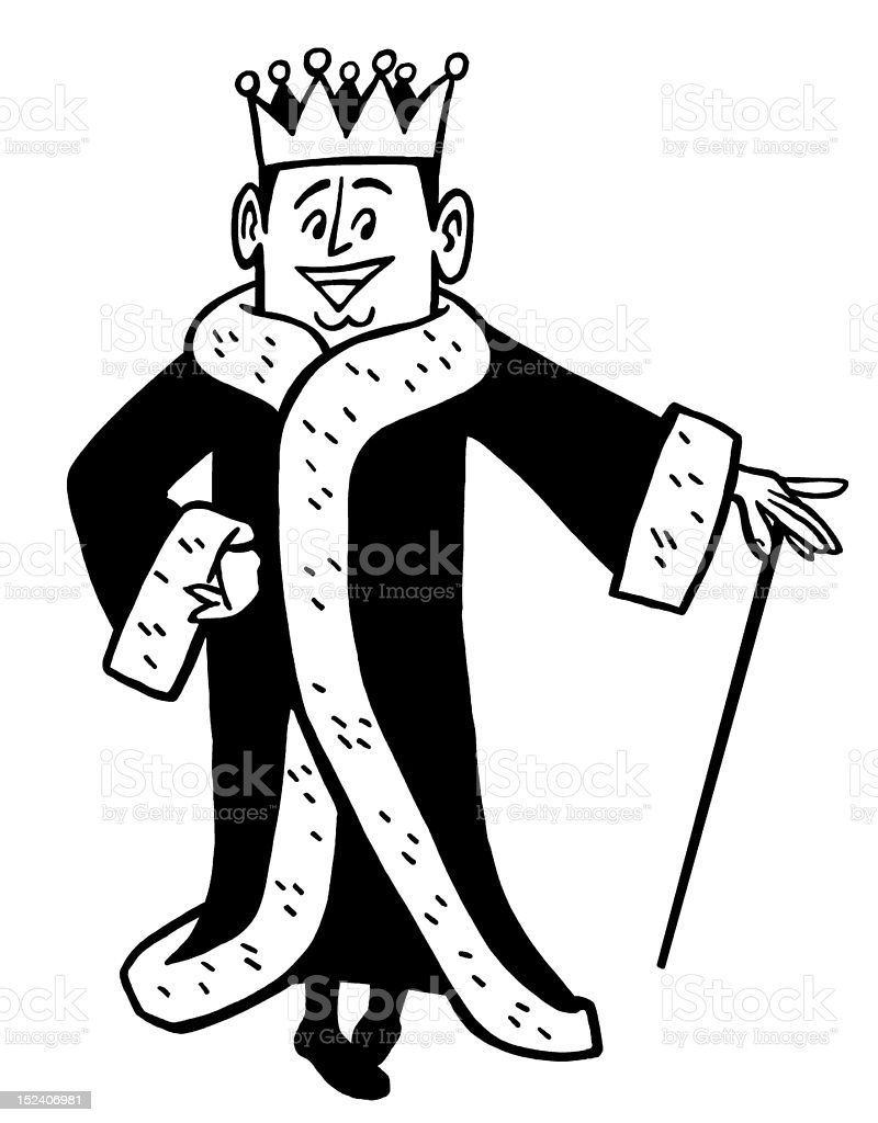 King Wearing Robe and Crown royalty-free stock vector art