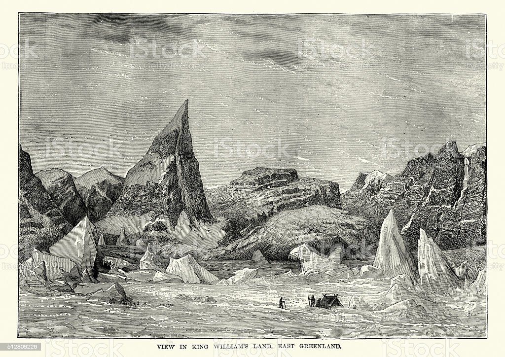 King William's Land, Greenland in the 19th Century vector art illustration