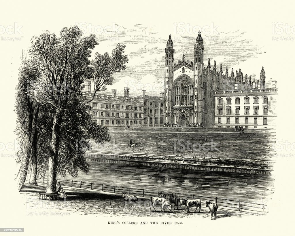 King's College, Cambridge and the River Cam, 19th Century vector art illustration