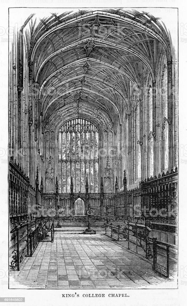 King's College Chapel, Cambridge, Cambridgeshire, England Victorian Engraving, 1840 vector art illustration