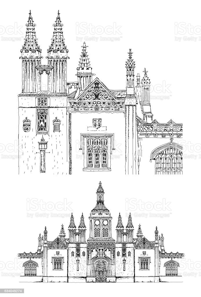 King's college main entrance gate, Cambridge. Sketch collection vector art illustration