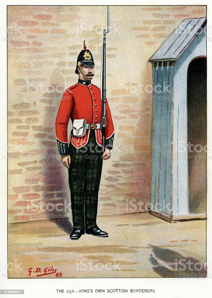 King's Own Scottish Borderers vector art illustration