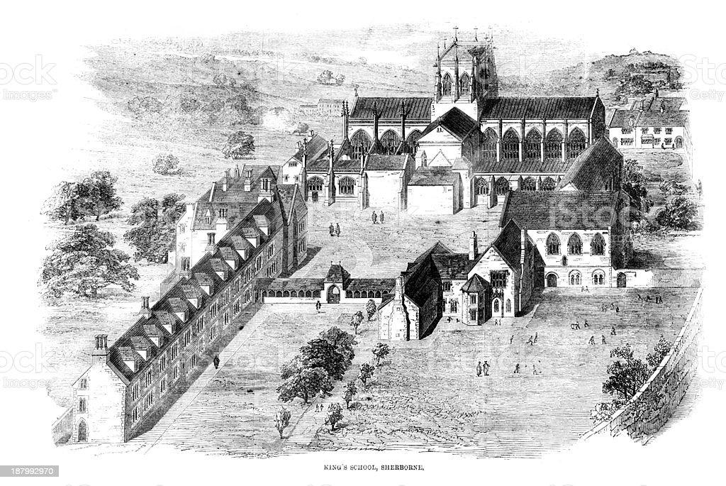 King's School, Sherborne vector art illustration