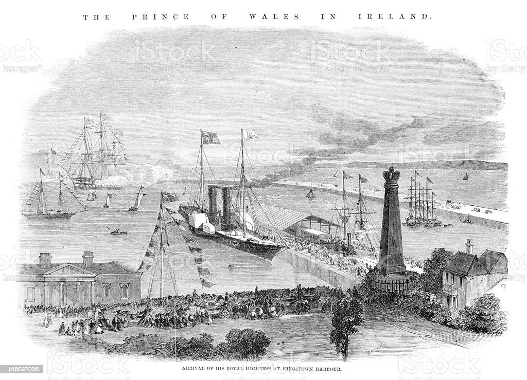Kingstown Harbour, Ireland vector art illustration