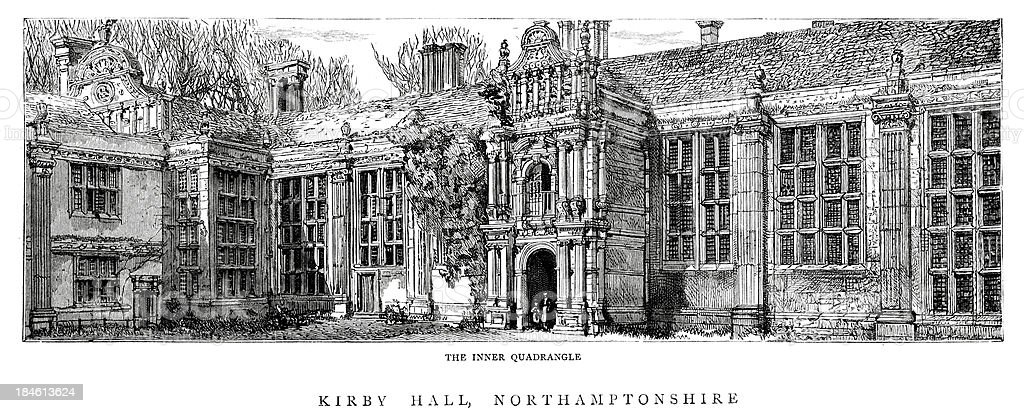 Kirby Hall Northamptonshire England vector art illustration