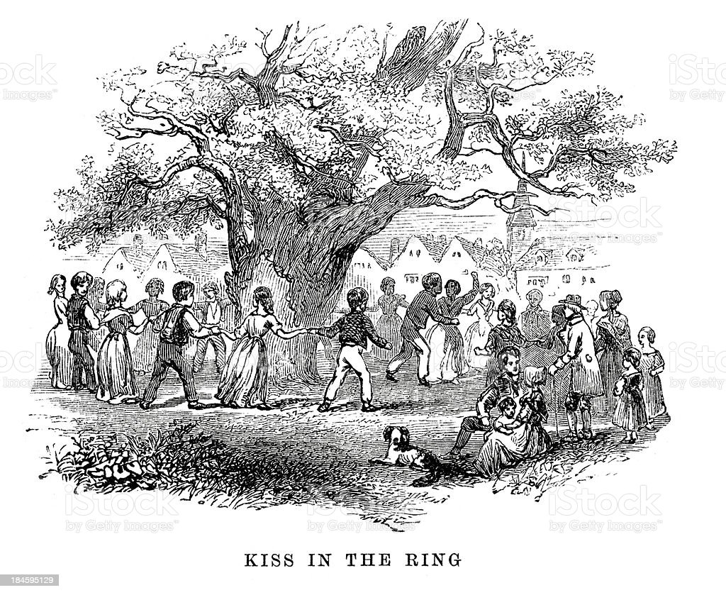 Kiss in the Ring vector art illustration