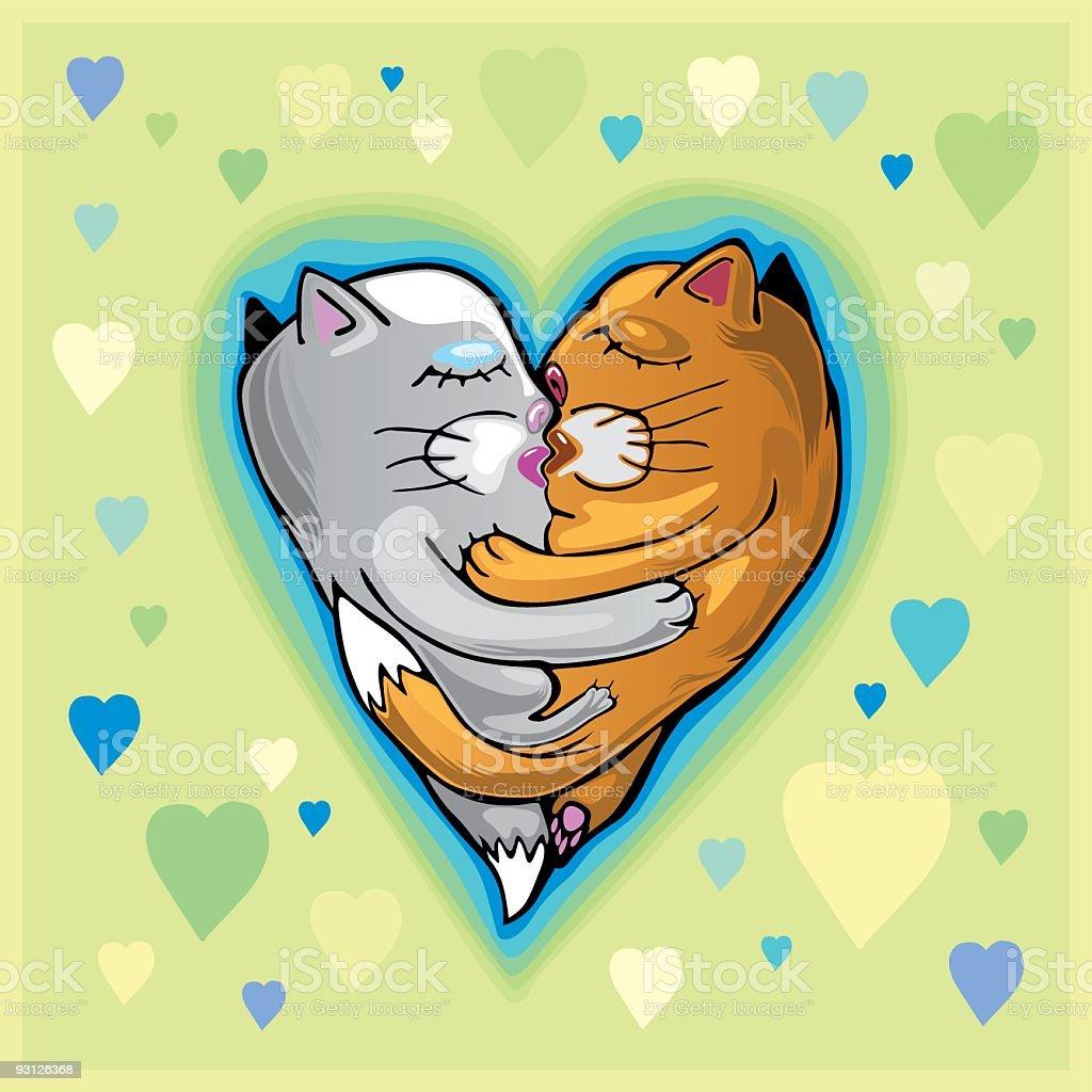 Kissing cats vector art illustration