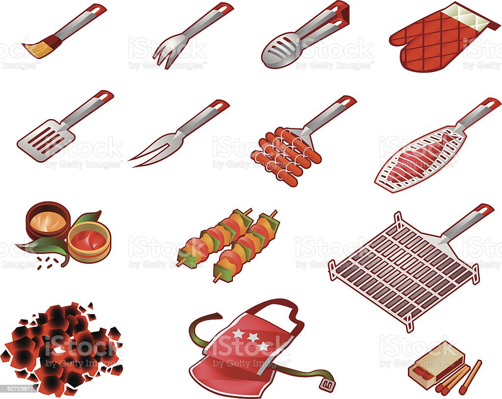 Kit Barbecue vector art illustration