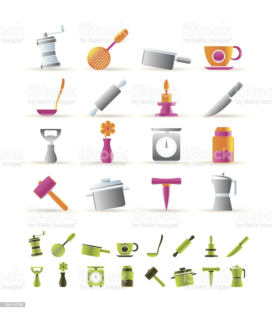 Kitchen and household tools icons royalty-free stock vector art