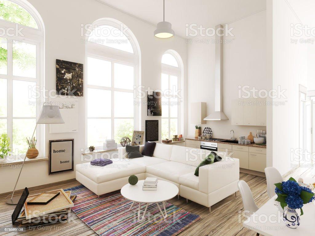 Kitchen and living room design. 3d illustration vector art illustration