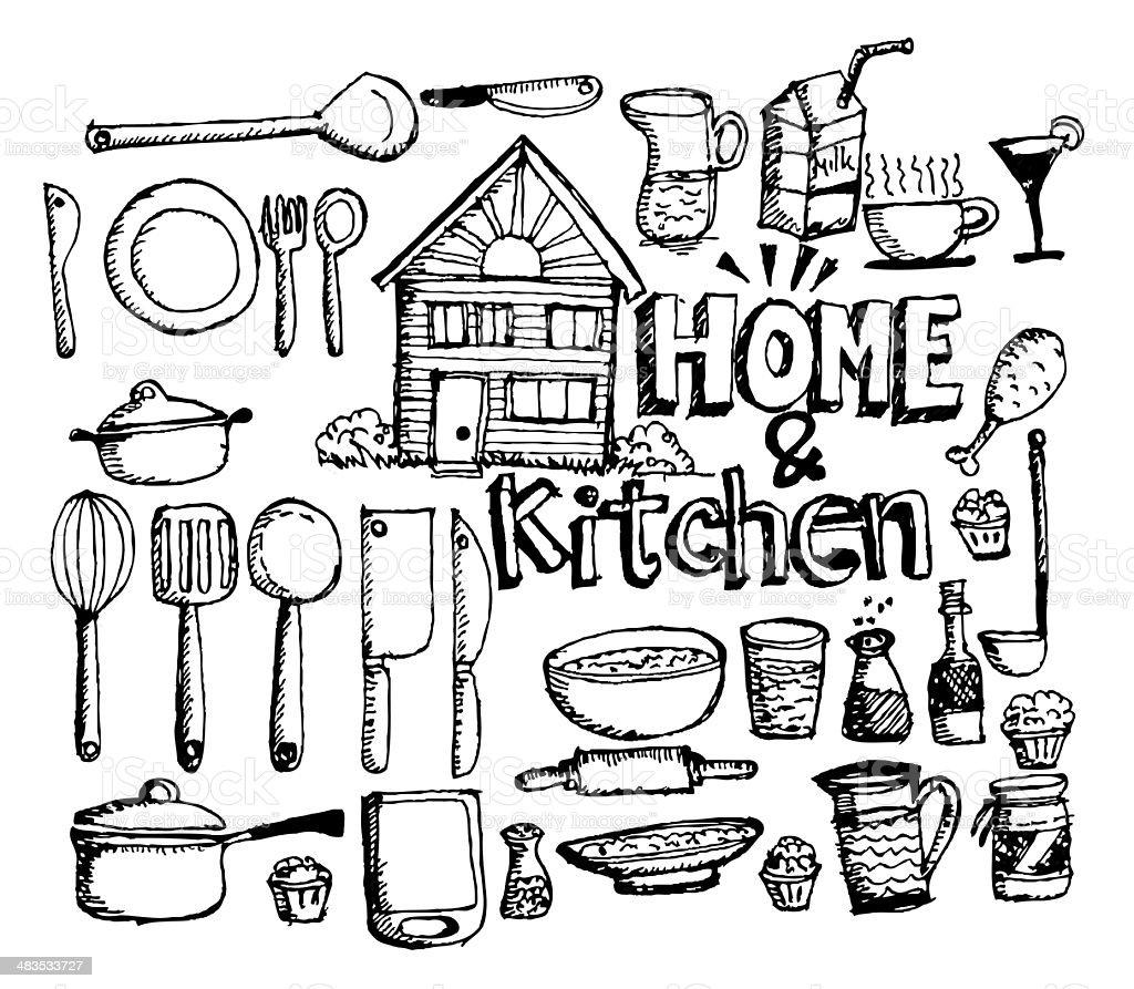 Kitchen elements vector art illustration