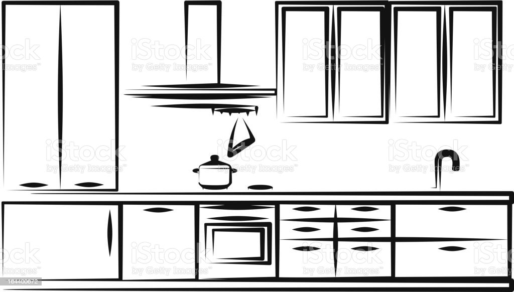Kitchen furniture vector art illustration