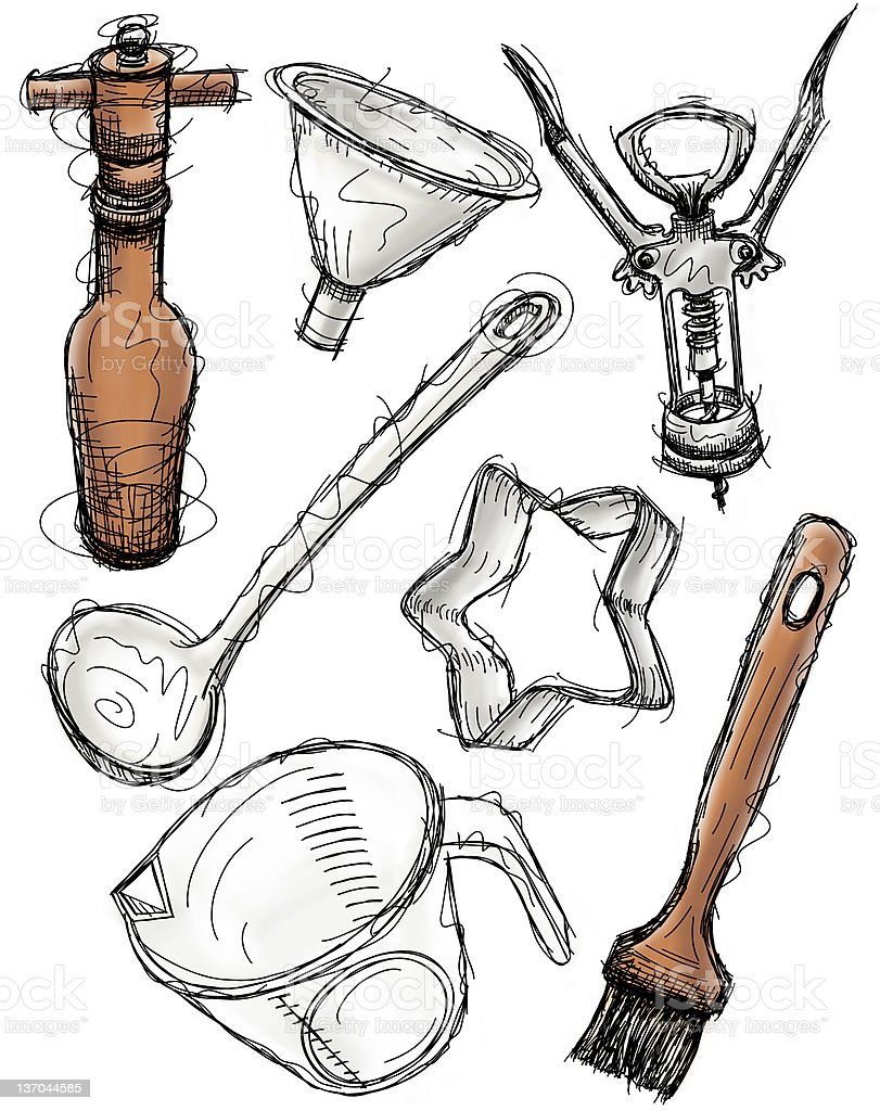 Kitchen Item sketches vector art illustration