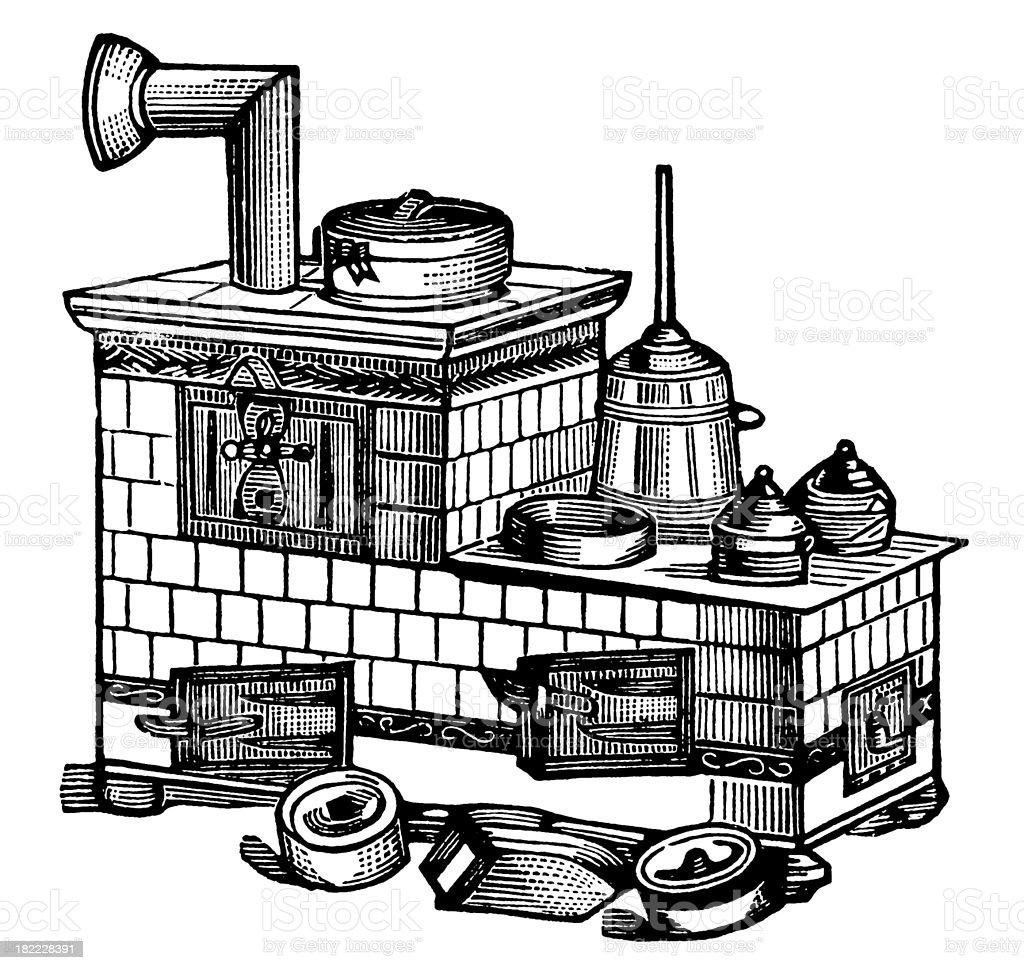 Kitchen oven | Antique Design Illustrations royalty-free stock vector art