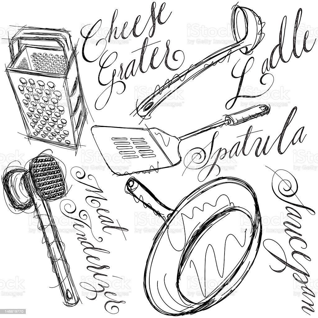 kitchen tools calligraphy royalty-free stock vector art
