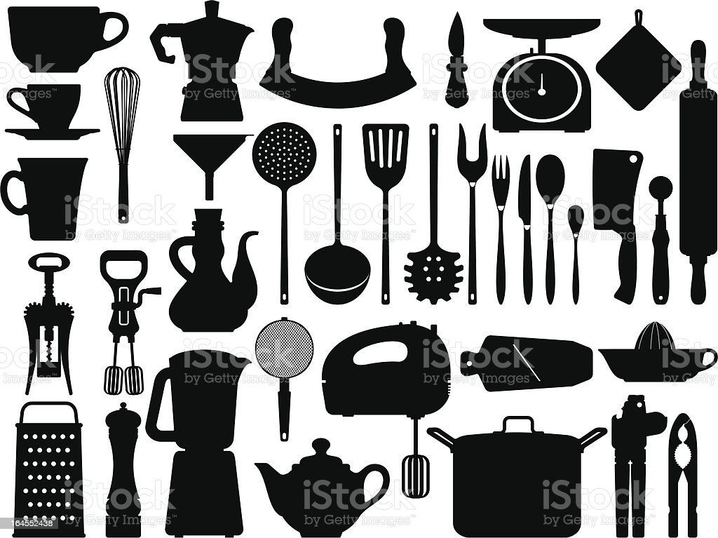 Kitchen tools silhouettes vector art illustration