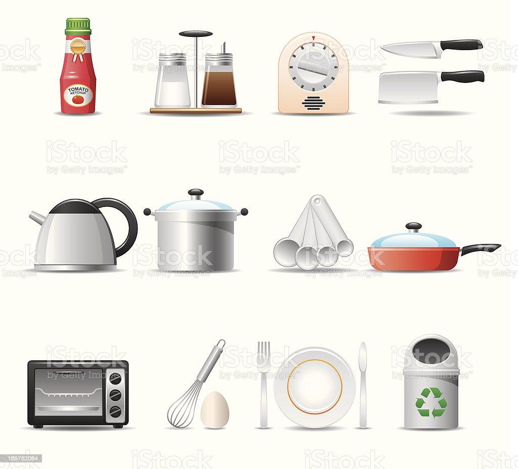 Kitchen Utensils Icon Set  Elegant Series royalty-free stock vector art