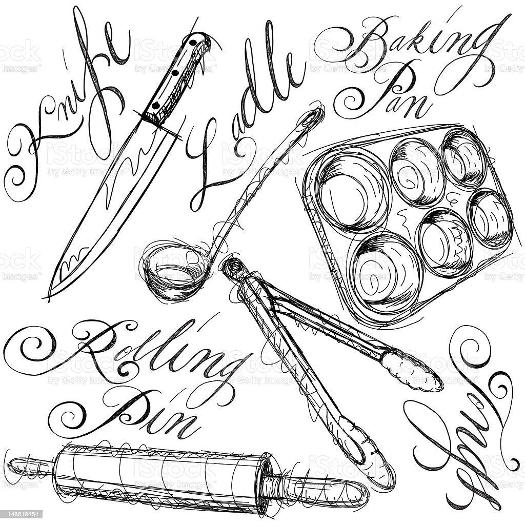 kitchen utensils vector art illustration