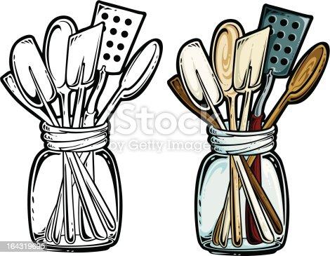 Kitchen utensil clip art - Kitchen Utensils Stock Vector Art 164319695 Istock