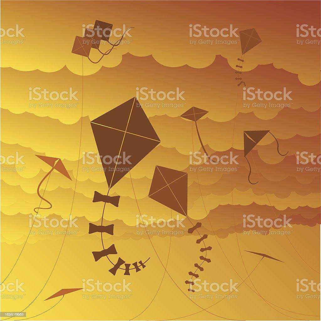 Kites at sunset royalty-free stock vector art