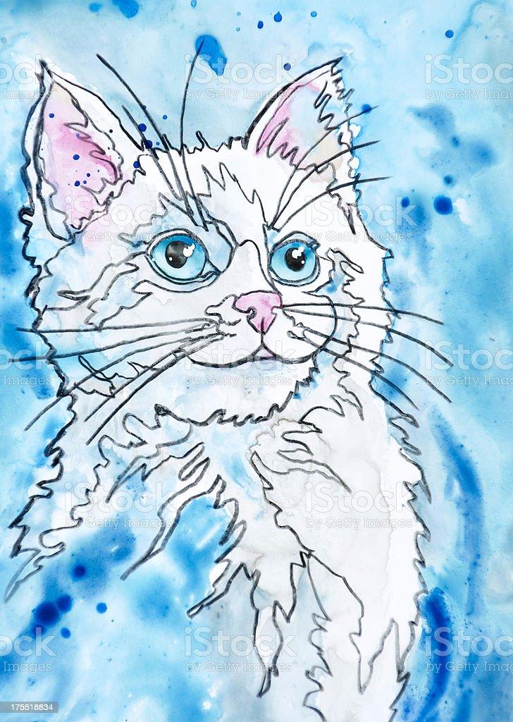Kitten with Blue Eyes vector art illustration