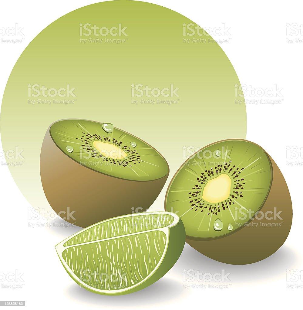 Kiwi et lime royalty-free stock vector art