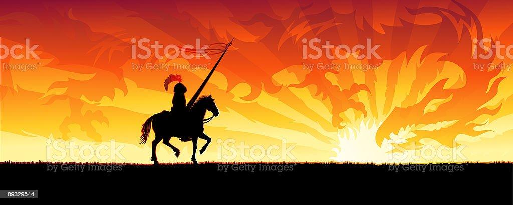 Knight and sunset china dragon vector art illustration