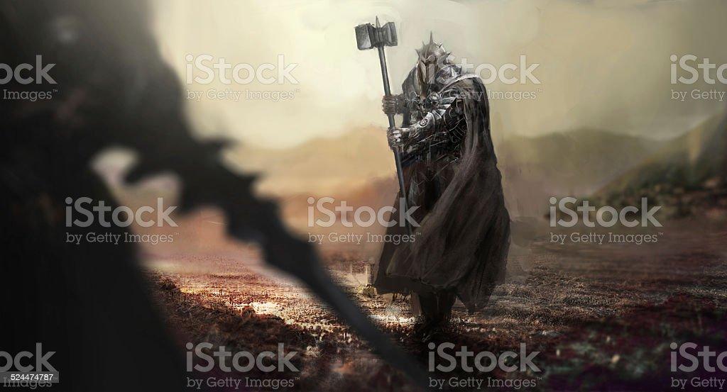knight battle vector art illustration