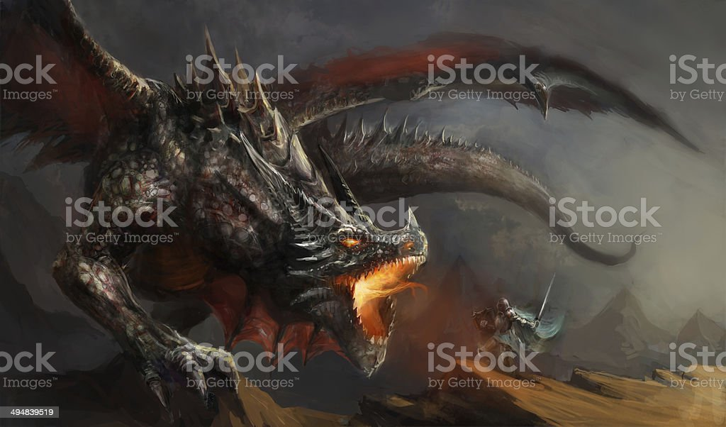 knight fighting dragon vector art illustration