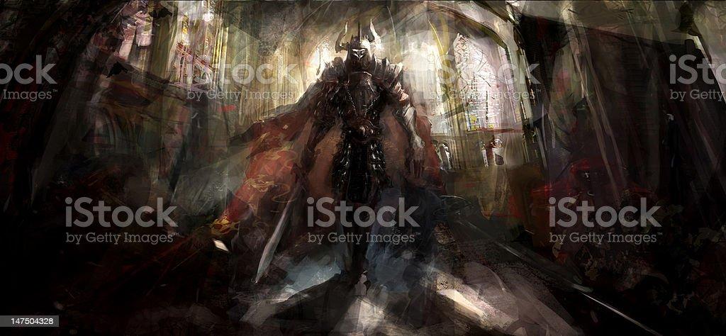 knight in temple vector art illustration