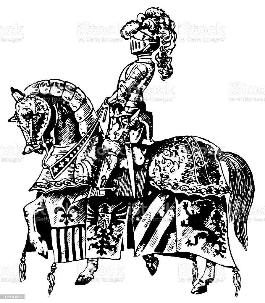 Knight on a horse I Antique Military Illustrations royalty-free stock vector art