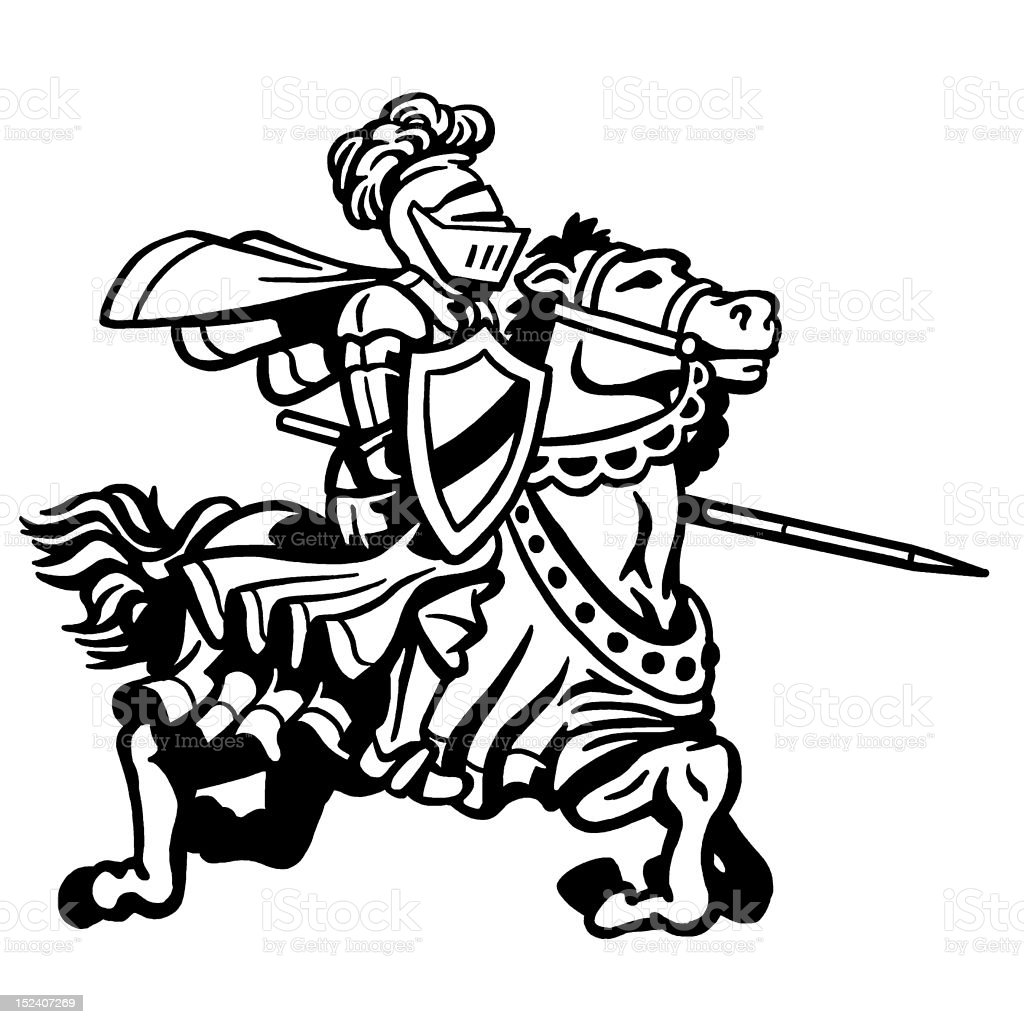 Knight on Horse Jousting royalty-free stock vector art