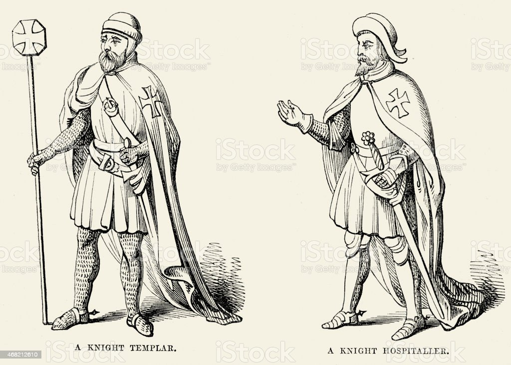 Knight Templar and Hospitaller vector art illustration