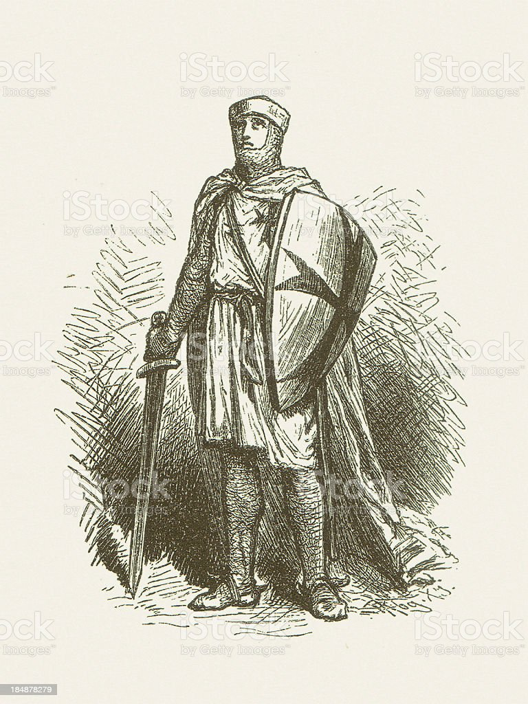 Knight Templar in his habit, wood engraving, published in 1880 vector art illustration