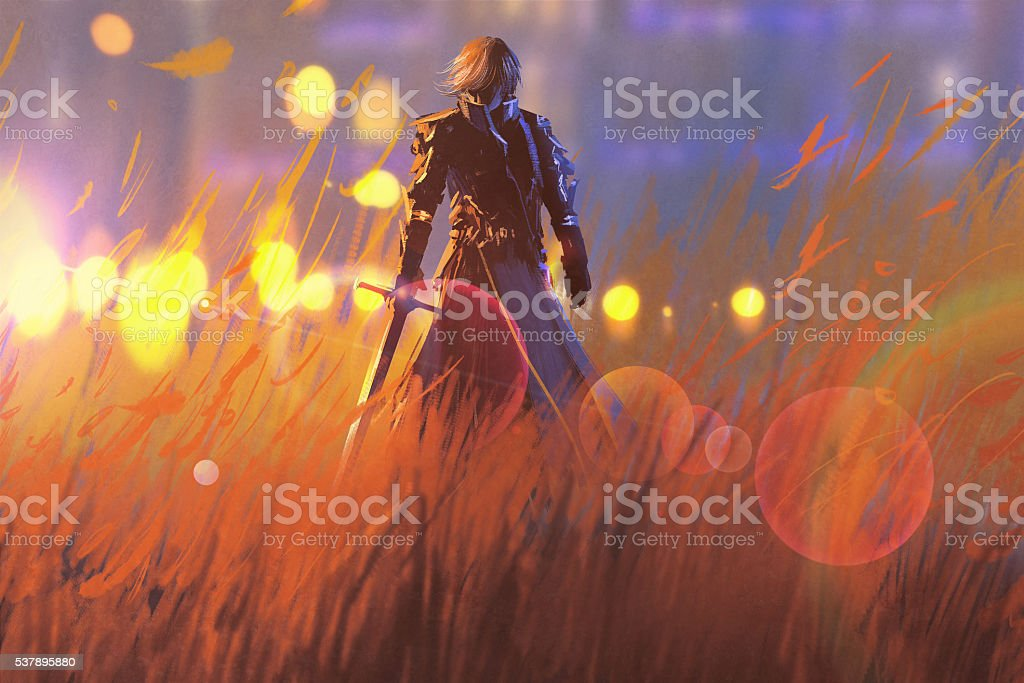knight warrior standing with sword in field vector art illustration