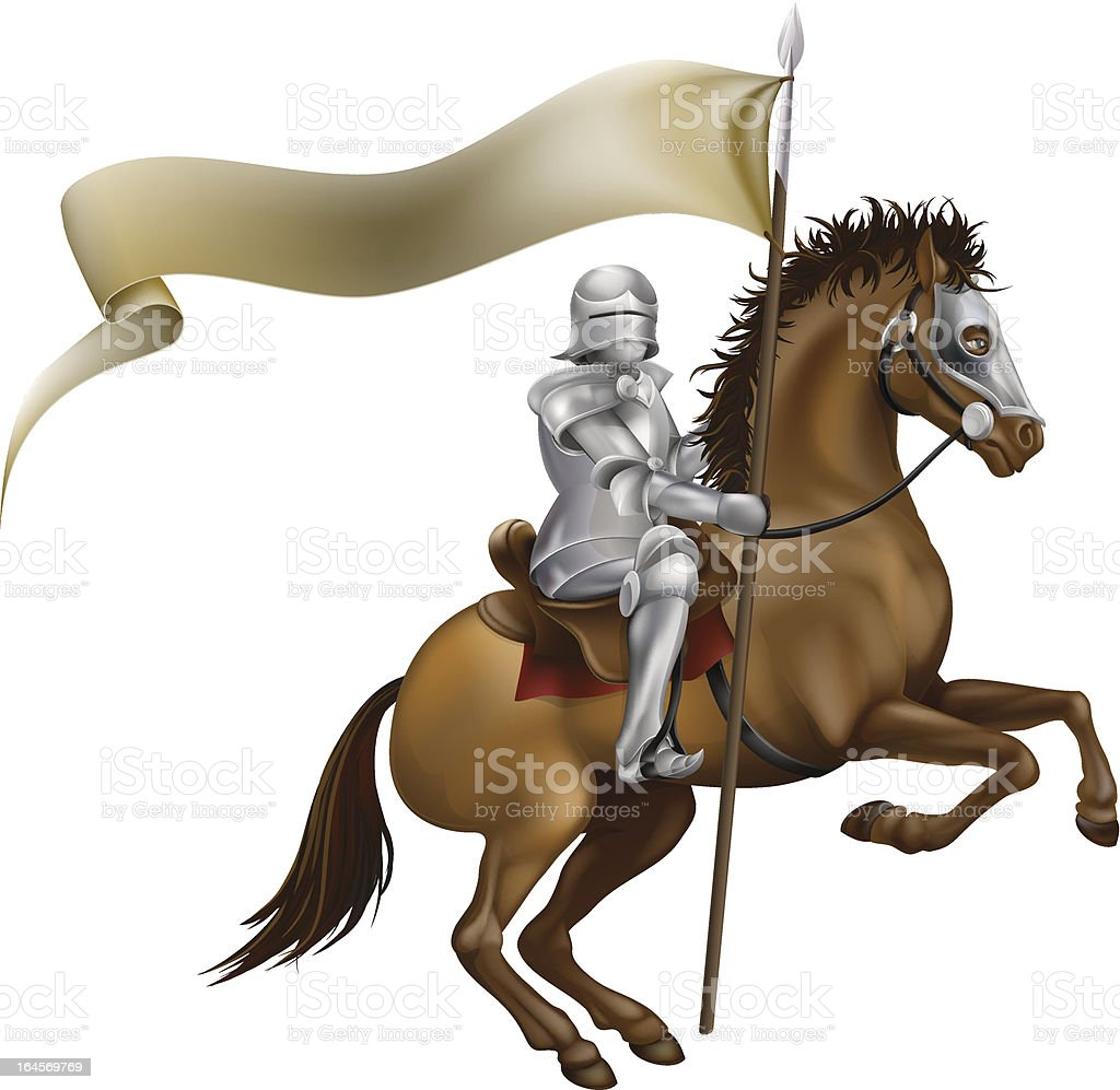 Knight with spear and banner royalty-free stock vector art