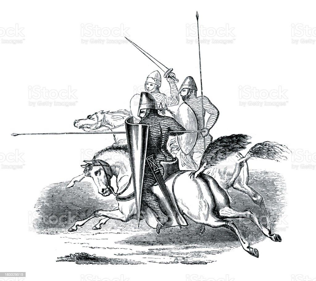 Knights on Horseback 12th Century royalty-free stock vector art
