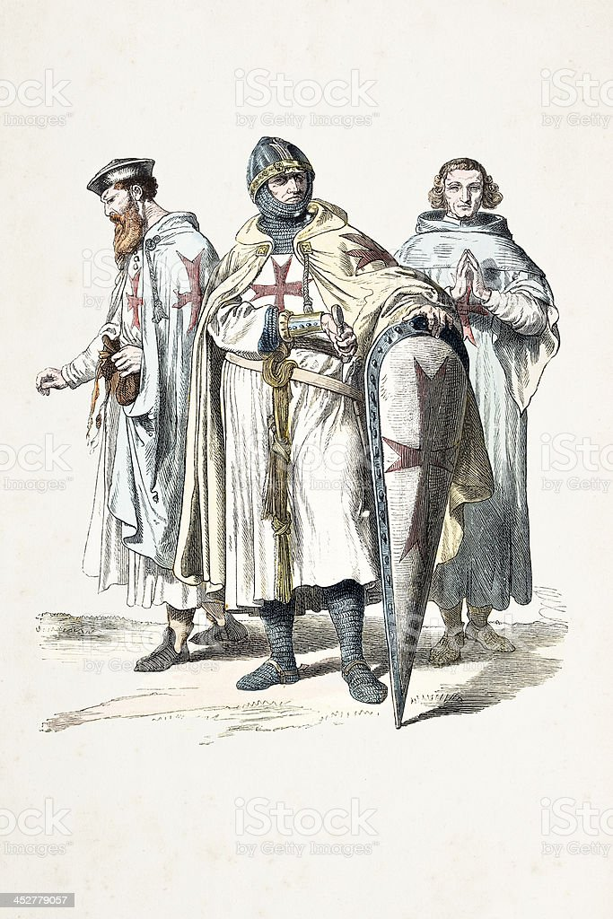 Knights Templar at crucade with different costumes 12th century royalty-free stock vector art