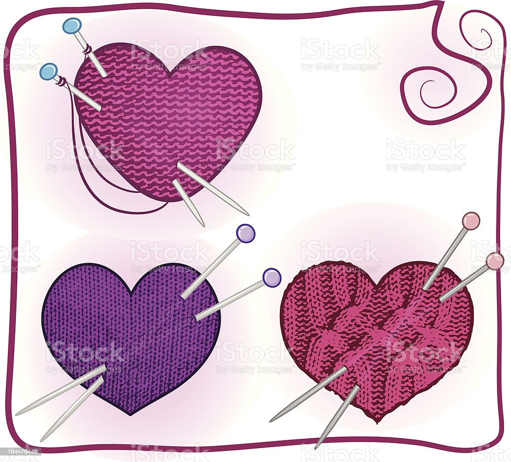 knitted heart royalty-free stock vector art