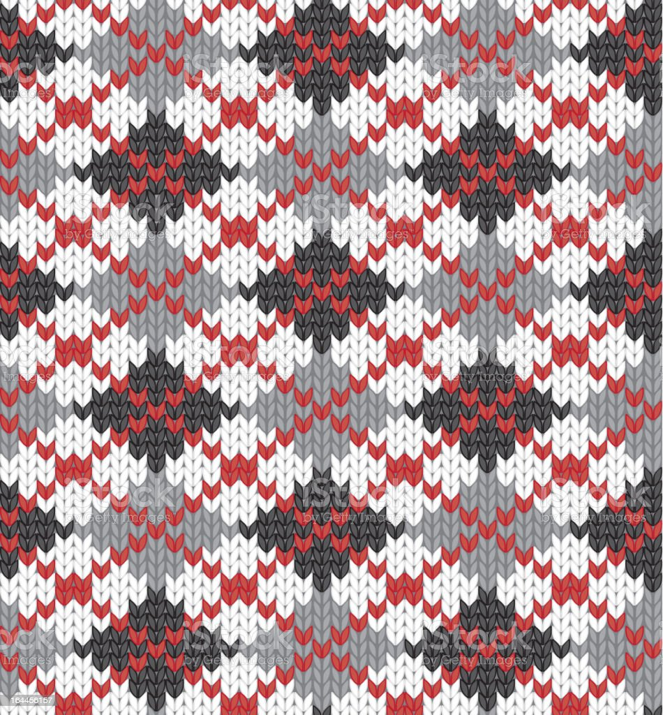 Knitted pattern with rhombus royalty-free stock vector art