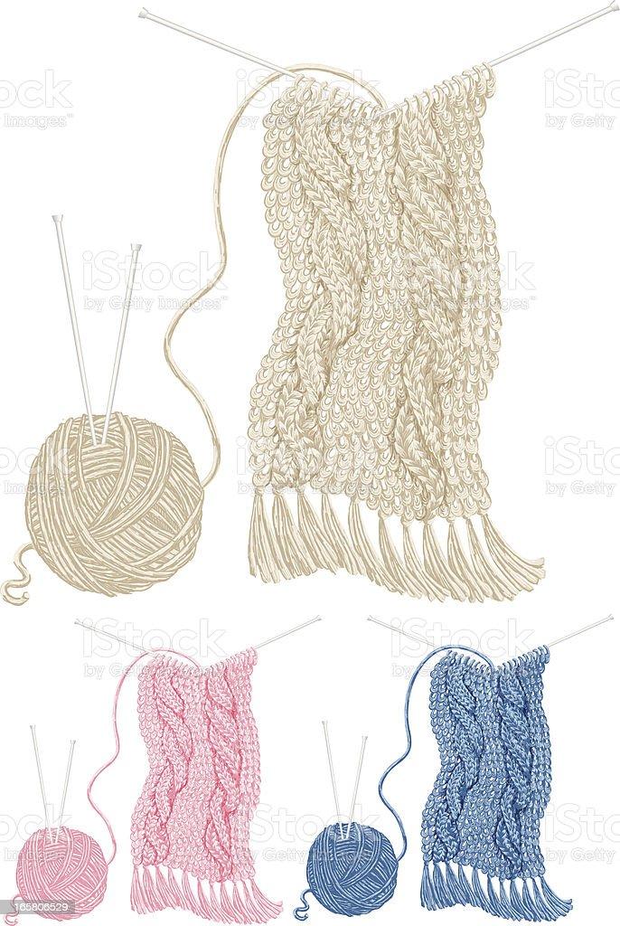 Knitted Scarves vector art illustration