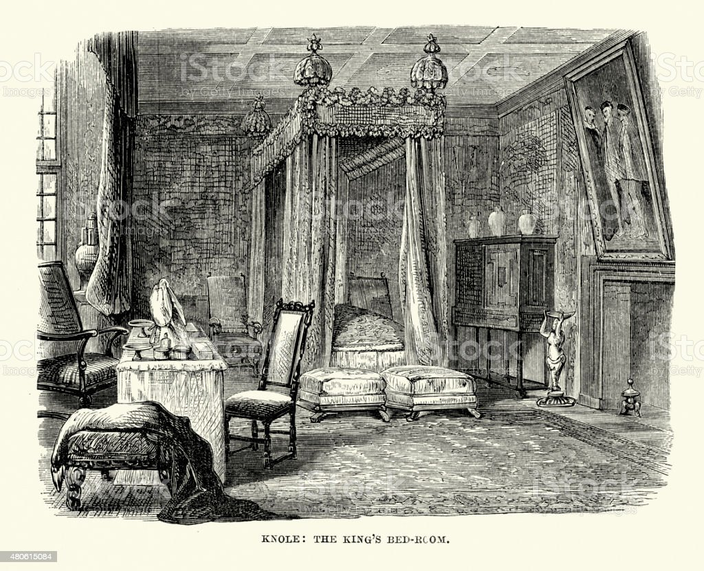 Knole House - The King's Bedroom vector art illustration
