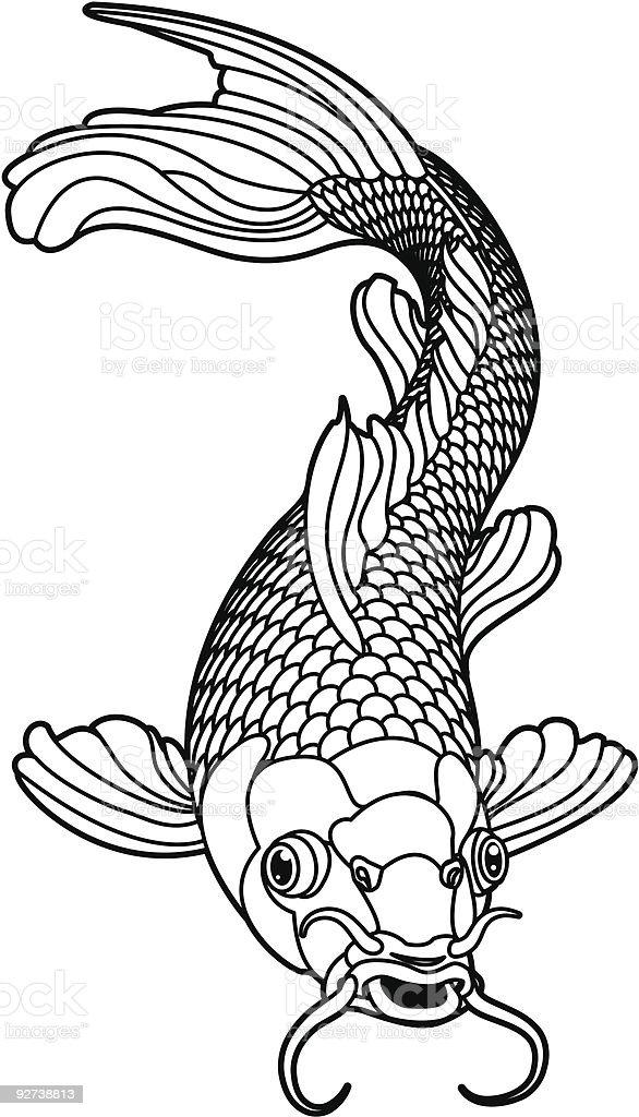 Koi carp black and white fish vector art illustration