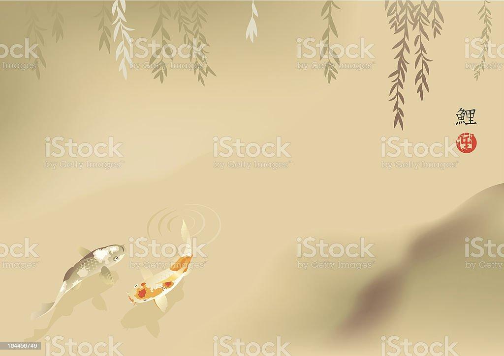 Koi carp in stream vector art illustration