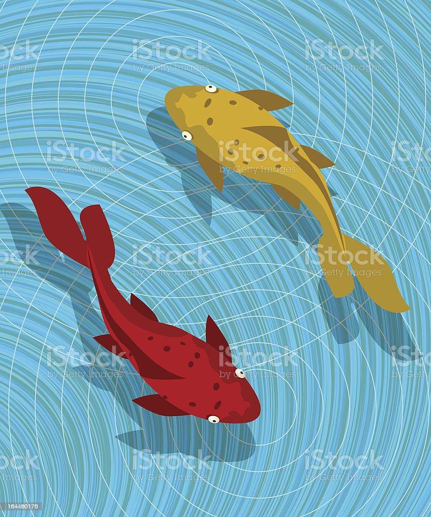 Koi fish scene royalty-free stock vector art