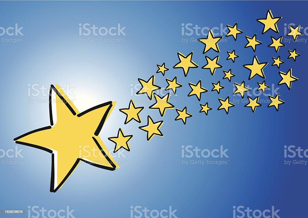 Komet am Nachthimmel vector art illustration