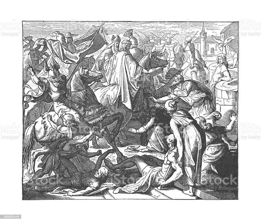 Konrad proceeding to Coronation (antique engraving) royalty-free stock vector art